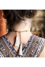 This Ilk This Ilk Emsel Necklace - Brass and white tassel