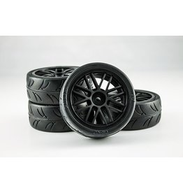 Gravity RC USGT Pre-Glued Spec Tires Mounted on Black GT Wheels (4)