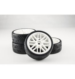 Gravity RC USGT Pre-Glued Spec Tires Mounted on White GT Wheels (4)