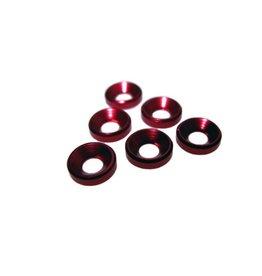 Racers Edge 3mm Aluminum Flat Head Washers (6, Red)
