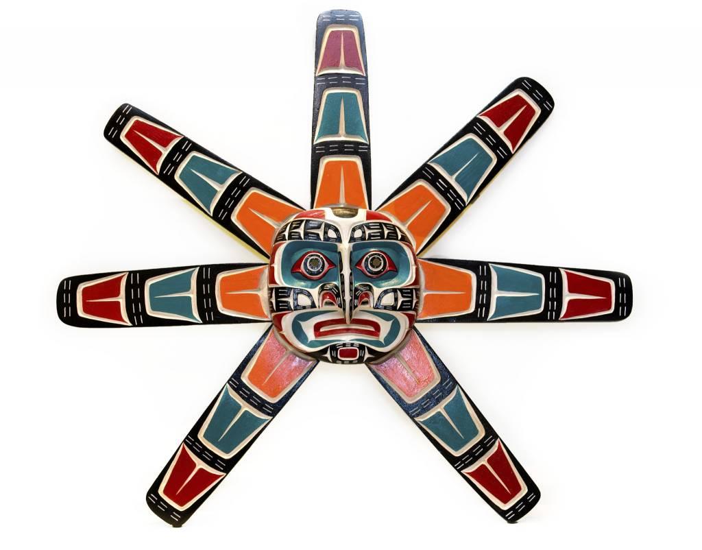 tsaw Sun Mask with Whitewashed Background by Jimmy Joseph (Kwakwaka'wakw).