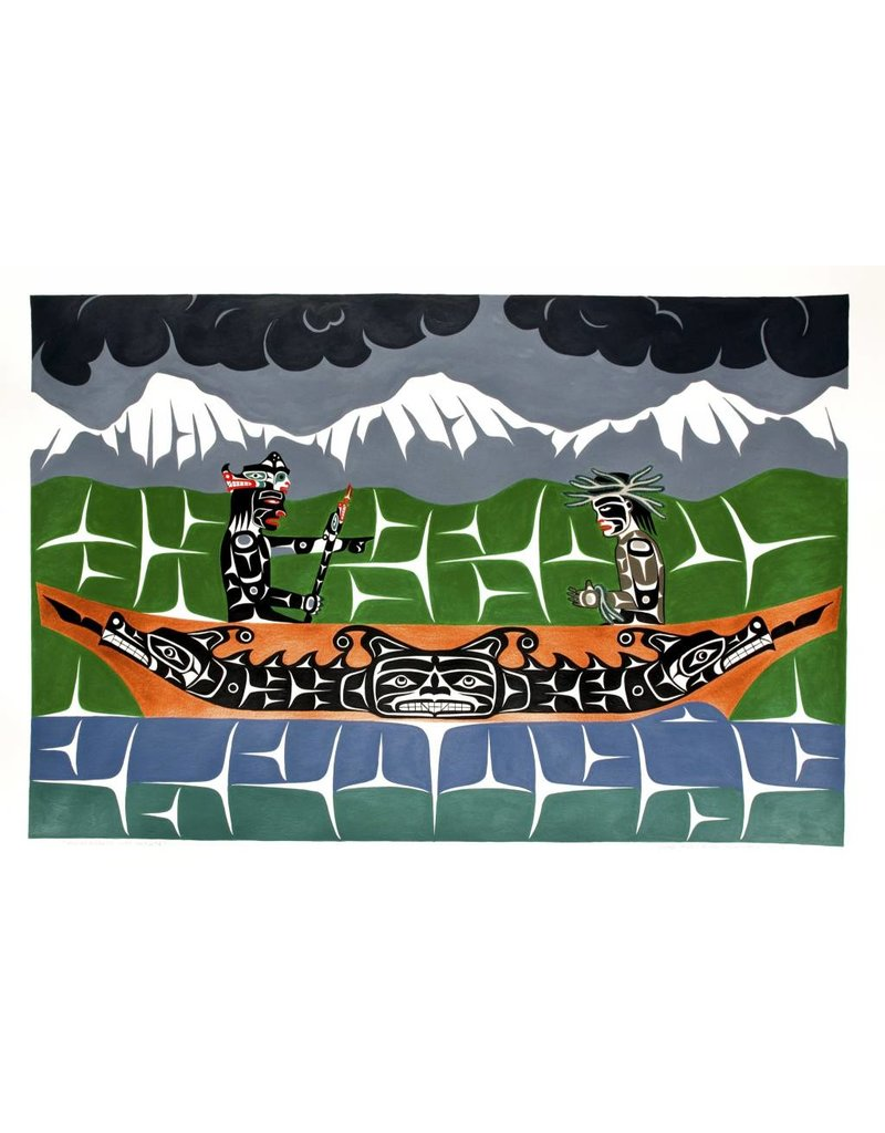 'Winalaglis with Initiate' Painting by Gord Hill (Kwakwakawakw).