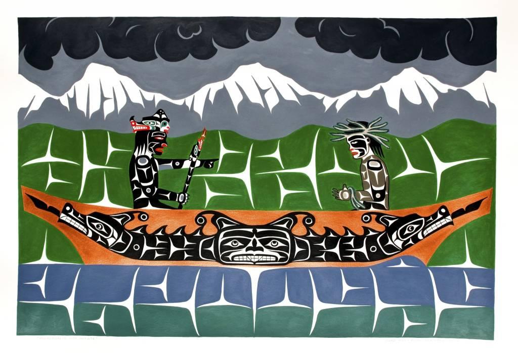 'Winalaglis with Initiate' Painting by Gord Hill (Kwakwakawakw).