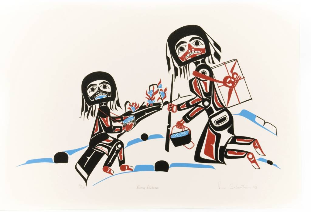 'Berry Pickers' print by Ron Sebastian (Gitxsan).