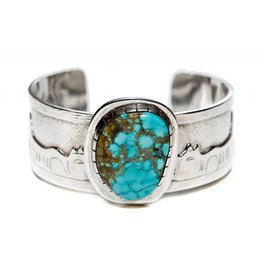 Tsaw Story Bracelet with Turquoise by Terrance Campbell.