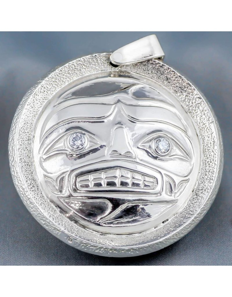 Sun & Moon Mask Repousse Pendant with Diamonds and Abalone