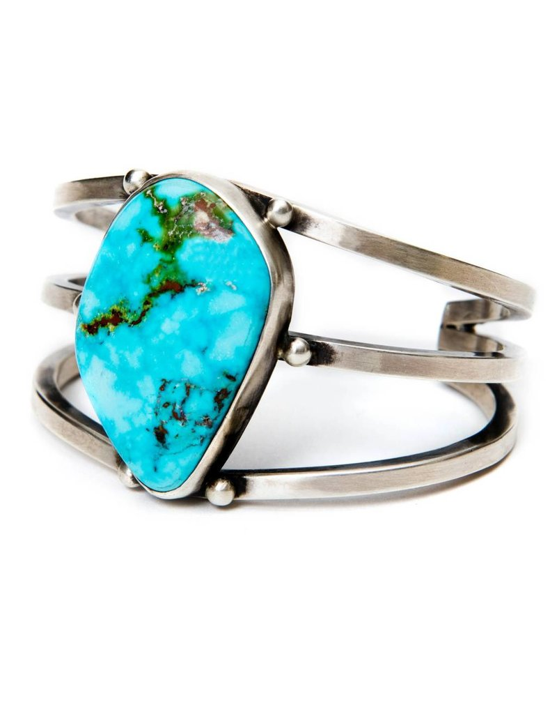 Natural Turquoise Mountain Turquoise Bracelet by Randy and Etta Endito (Navajo).