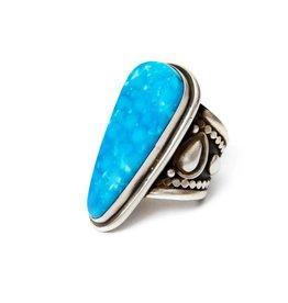 Stabilized Bird's Eye Kingman Turquoise Ring by Bryant Martinez (Navajo).