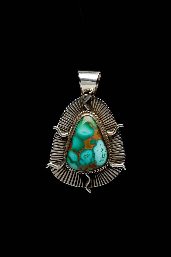 Royston Turquoise and Silver Pendant by Bryant Martinez (Navajo).