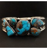 5 Stone Natural Candelaria Turquoise Bracelet by Randy and Etta Endito (Navajo).