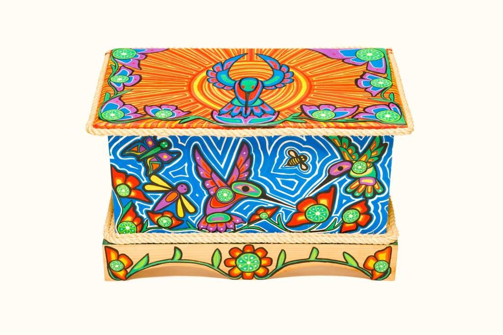Hummingbird Box Chest Painted by Gyauustees (Nuchahnulth).