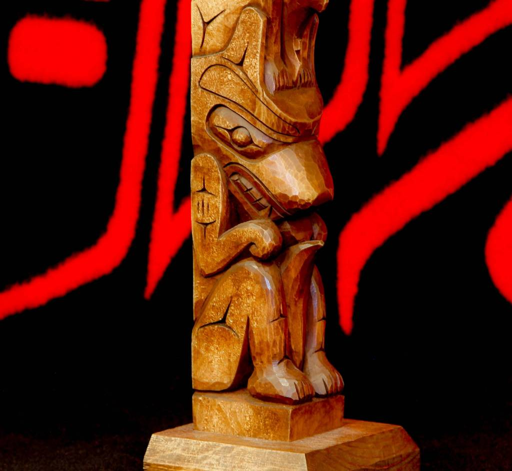 Model Totem Pole by Jay Coutts (Carrier, Cree)