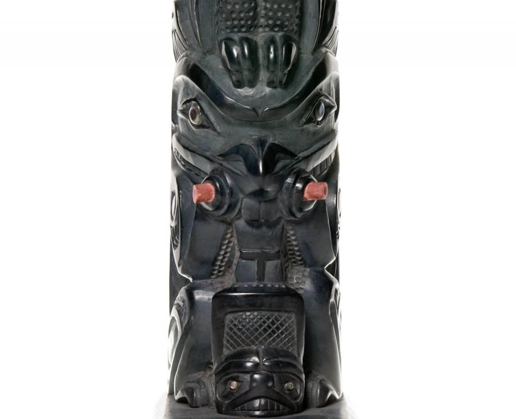 Argillite Model House Post by Lionel Samuels (Haida).