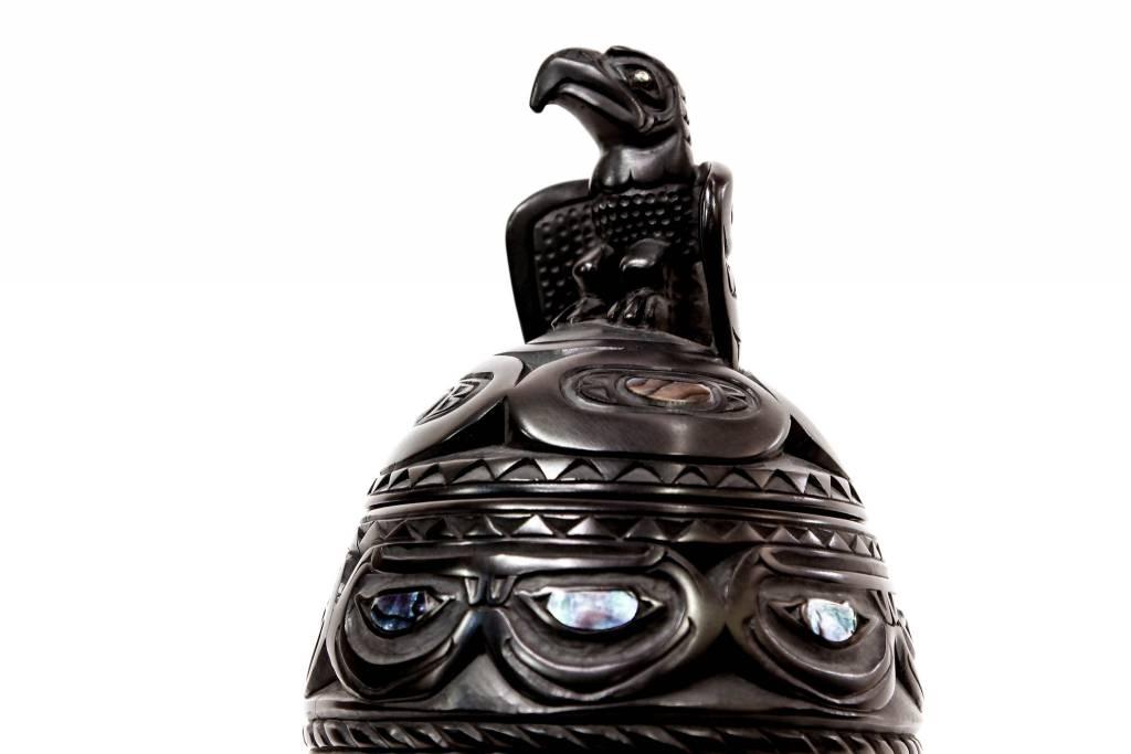 Argillite urn by Lionel Samuels (Haida).
