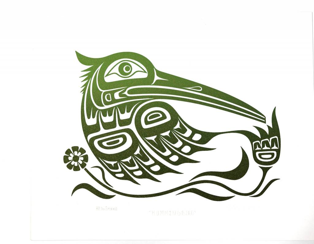 tsaw Print Emerald Hummingbird by Wade Baker (Squamish/Coast Salish).