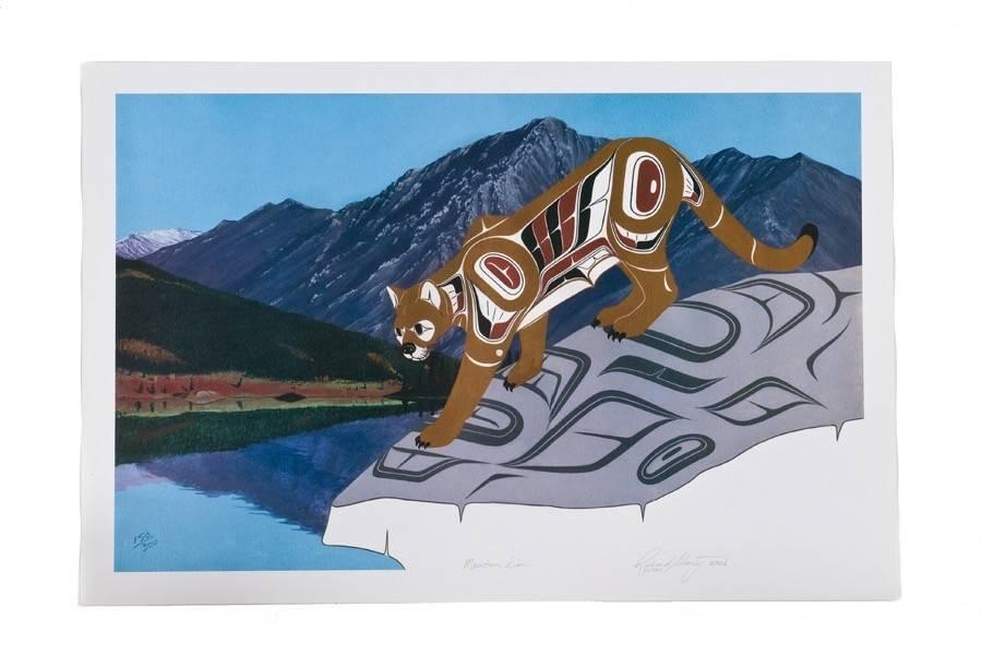 'Mountain Lion' Print by Richard Shorty (Northern Tutchone).