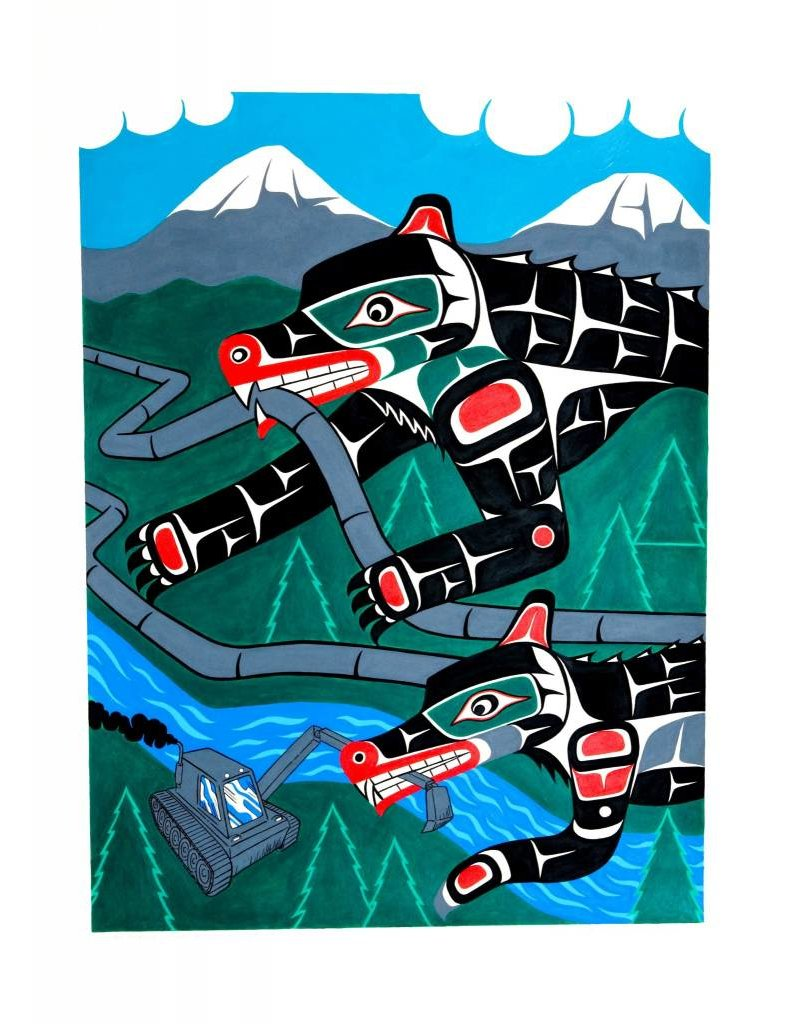 SOLD 'No pipelines - Bear and Wolf defenders' Painting by Gord Hill (Kwakwakawakw).