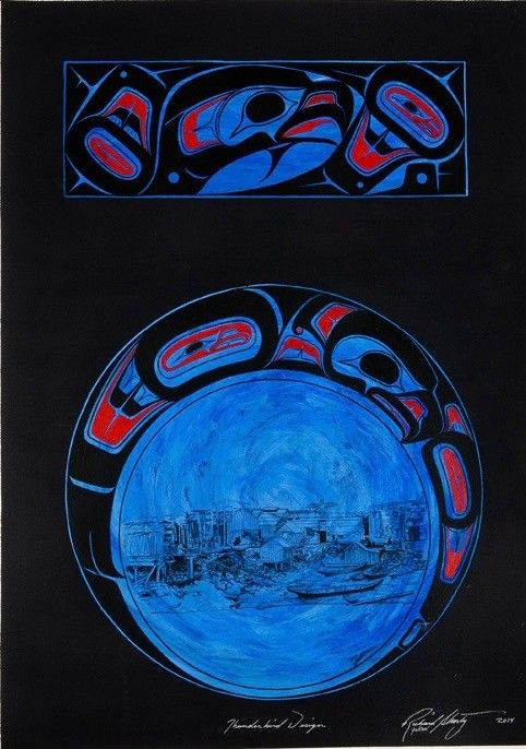 Original painting - 'Thunderbird Design' by Richard Shorty (Northern Tutchone).