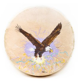 Eagle with Lightning Hand drum painted by Nahanee (Dakota).