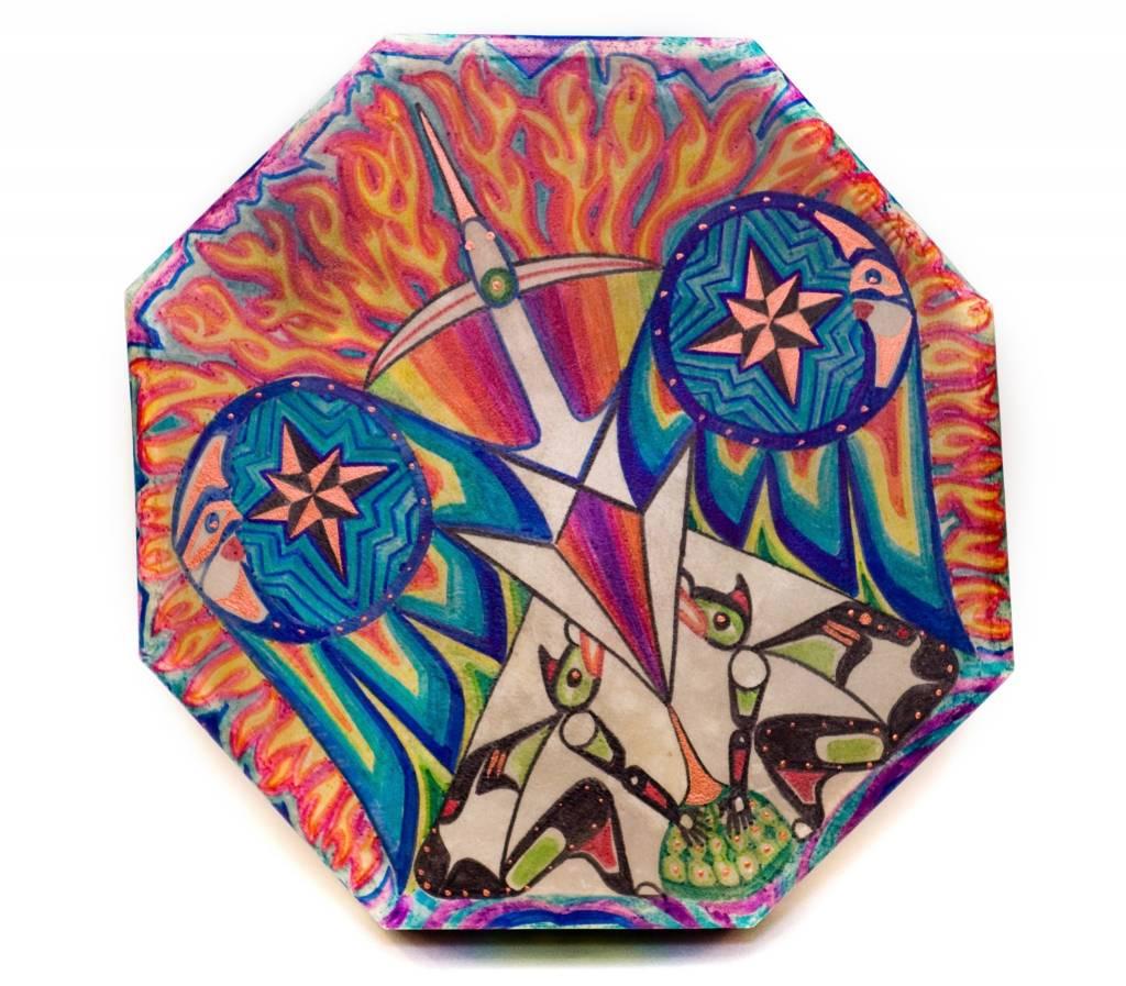'Waterbird' Hand Drum painted by Gyauustees. (Nuu-chah-nulth).