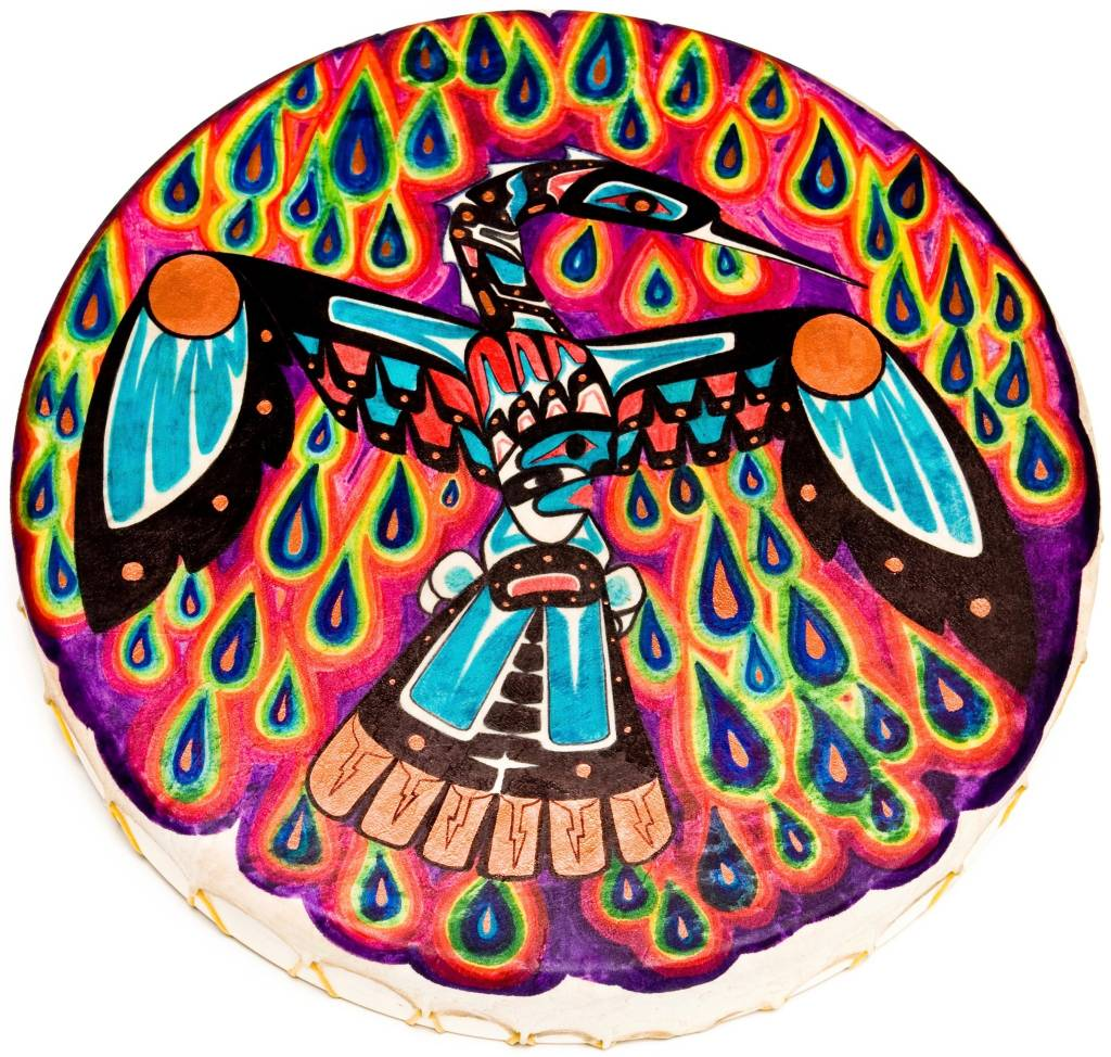 Waterbird Hand Drum painted by Gyauustees (Nuu-chah-nulth).