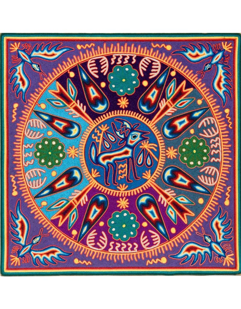 "24"" Yarn Painting by Hilaria Chavez Carrillo (Huichol)."
