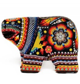 Bear Carved and Beaded by Santos Bautista (Huichol).