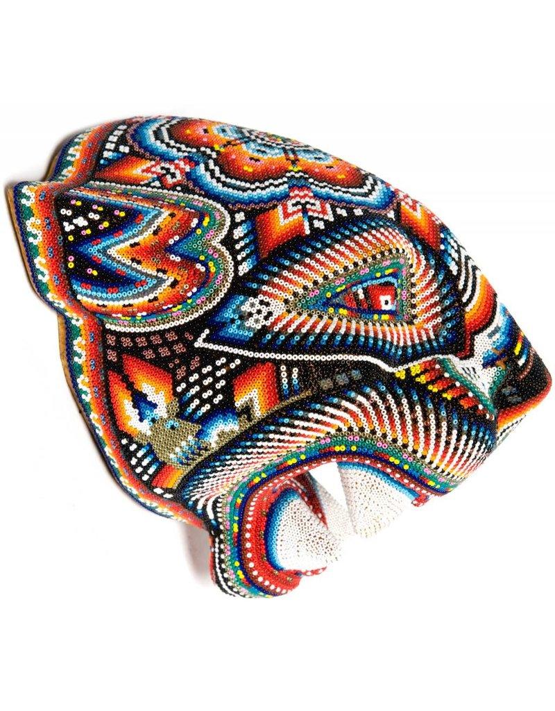 Jaguar Head Carved and Beaded by Santos Bautista (Huichol).