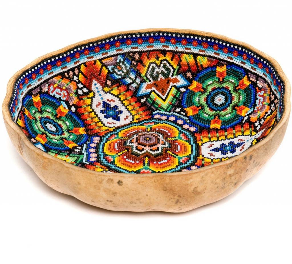 Gourd Bowl Beaded by Juan Villa (Huichol).