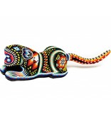 Jaguar Carved and Beaded by Santos Bautista (Huichol).