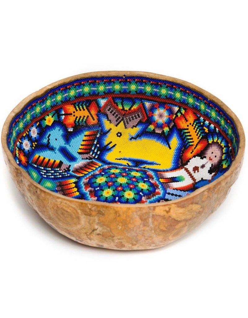 Gourd Bowl Beaded by Sylvestre Castro (Huichol).