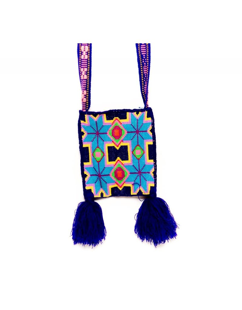 "Hand Woven 8"" by 7"" Medicine Bag (Huichol)."