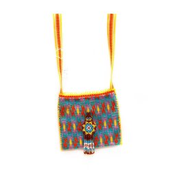 "Hand Woven 4"" by 4"" Medicine Bag (Huichol)."