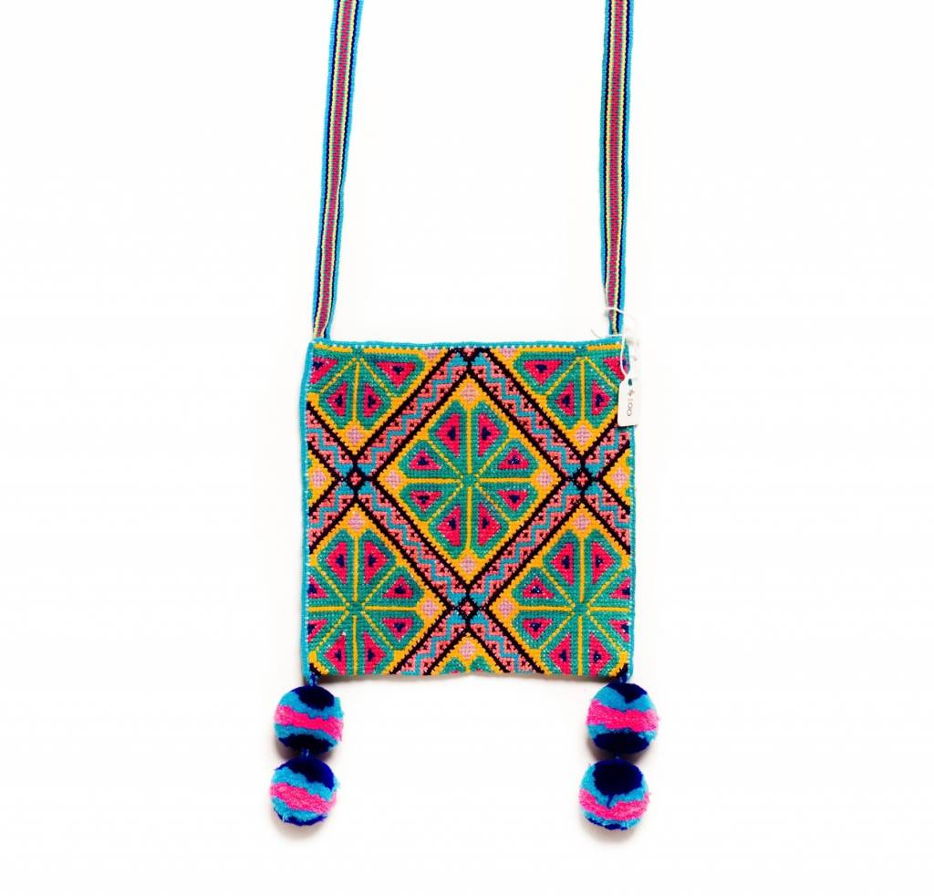 "Hand Woven 6"" by 6"" Medicine Bag (Huichol)."