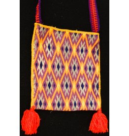 "Medicine (Peyote) Bag 6"" by 6"" by Francisco and Velina Hernandez (Huichol)."