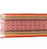 "Inca hand loomed shawl 61"" by 16 1/2""."