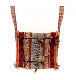 "Inca Hand Sewn Shoulder Bag from Hand Loomed Cloth - 12"" by 14"""