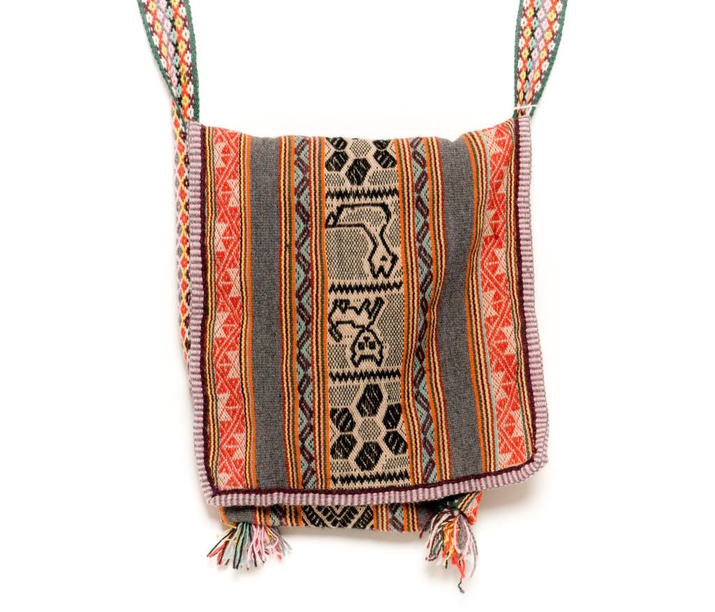 "Inca Hand Sewn Shoulder Bag from Hand Loomed Cloth - 15"" by 13"""