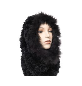Luxuriously Soft Black Fur Cowl / Infinity Scarf with Fox Trim (Dene).