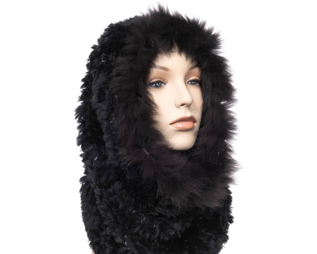 Luxuriously Soft Black Fur Cowl - Infinity Scarf with Fox Trim (Dene)