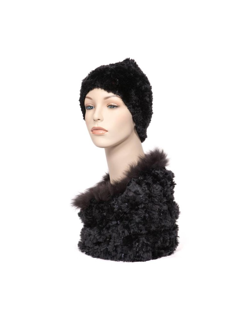 Luxuriously Soft Black Fur Cowl - Infinity Scarf with Fox Trim (Dene)