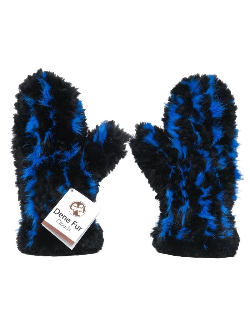 Fur Mitts - Black with Blue Dyed Rabbit Stripe