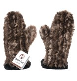 Sheared Knit Beaver Fur Mittens – Natural with Black Contrast Edge