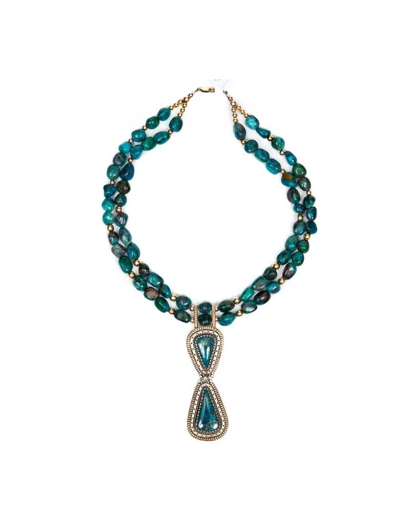 Tyrone Turquoise Necklace by Randy and Etta Endito (Navajo).