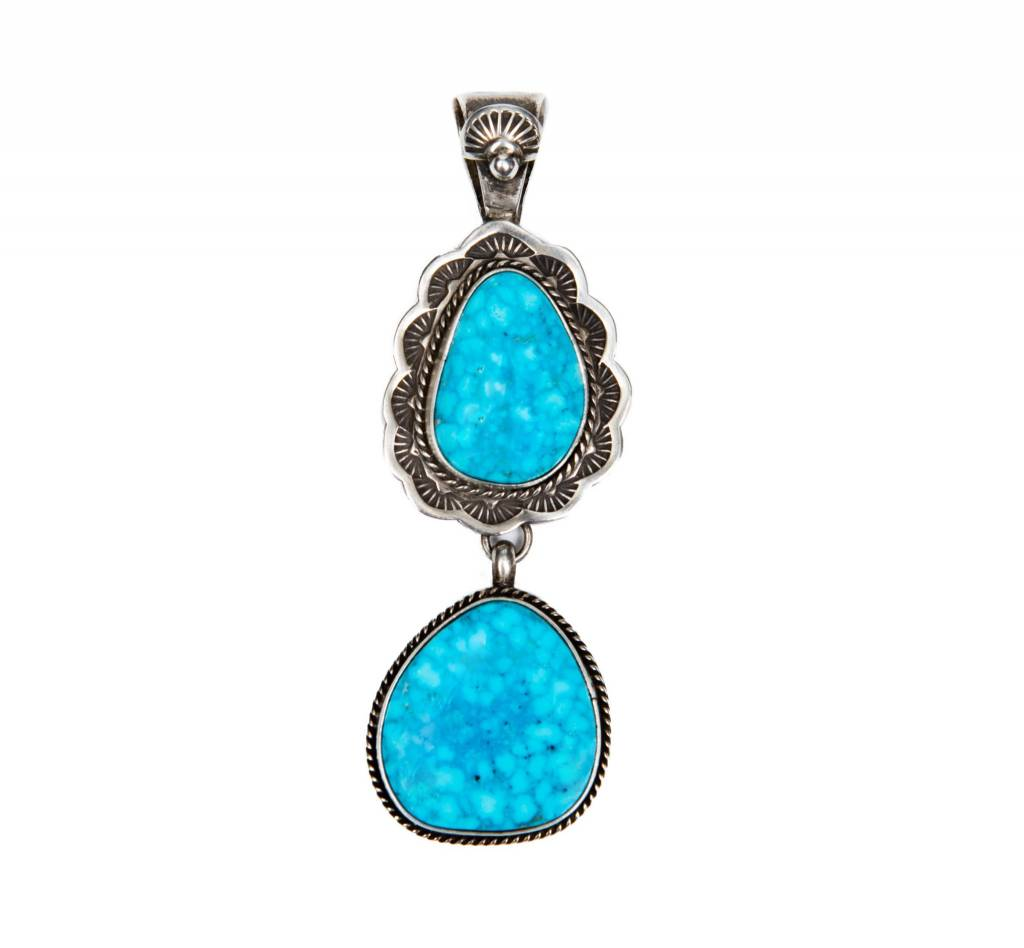 Bird's Eye Kingman Turquoise Pendant by Bryant Martinez (Navajo).