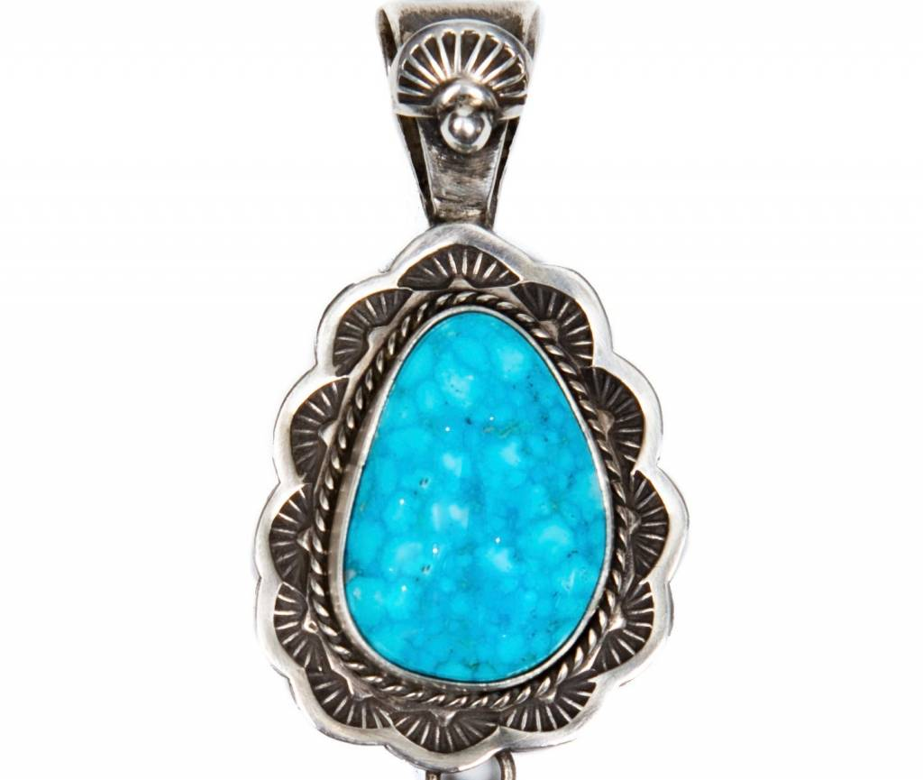 Bird's Eye Kingman Turquoise Pendant by Bryant Matinez (Navajo).