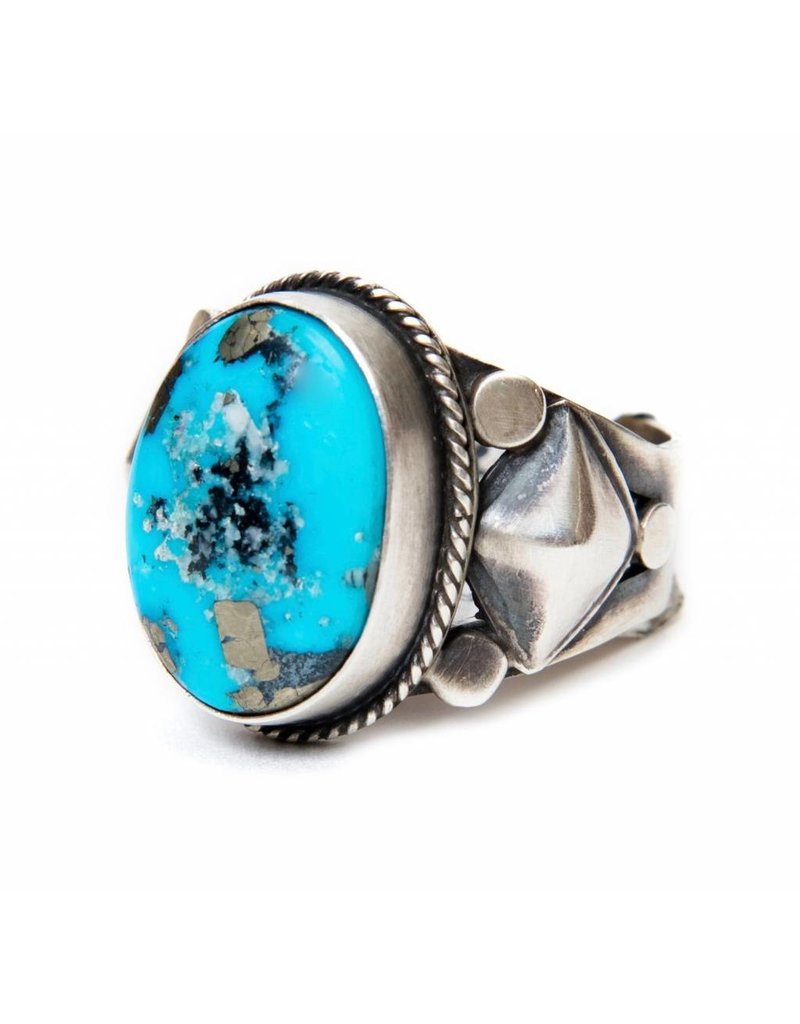 Kingman Turquoise Ring by Randy and Etta Endito (Navajo).