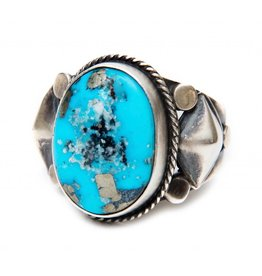 Kingman Turquoise Ring by Randy and Etta Endito (Navajo).