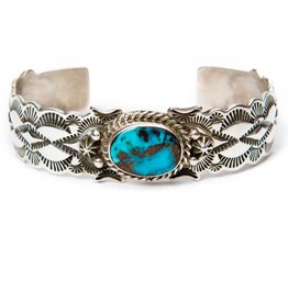 Apache Blue Turquoise Bracelet by Fred Cleveland