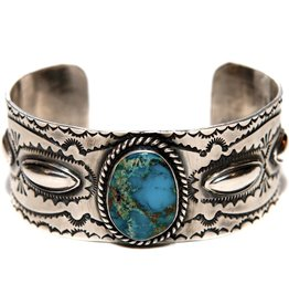 Bisbee Turquoise Silver Bracelet by Etta and Randy Endito (Navajo.